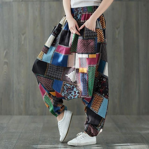 patchwork-harem-pants