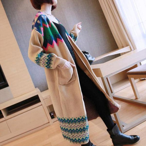 COLORFUL LONG SLEEVE KNITTED CARDIGAN SWEATER