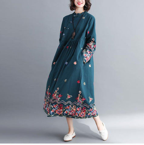Floral Embroidered Modern Chinese Dress