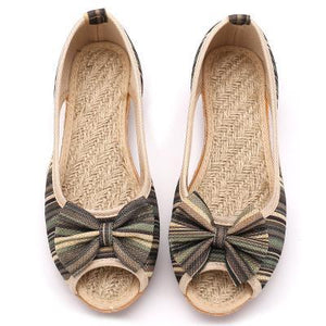 Buddha Trends Army Green / 5 Rainbow Striped Peep Toe Linen Chaussures