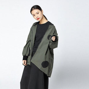 Buddha Trends Army Green / One Size Polka Dot Windjacke | Millennials