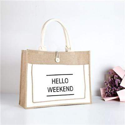 Hello Weekend Reusable Linen Shopping Bag