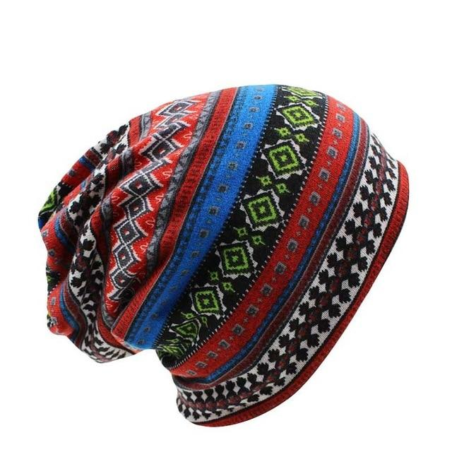 Red Tribal Beanie Hat
