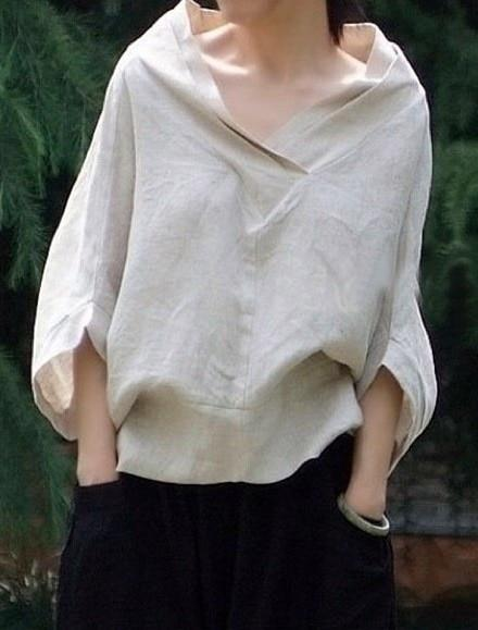 Buddha Trends Batwing Sleeve V-Neck Linen Shirt