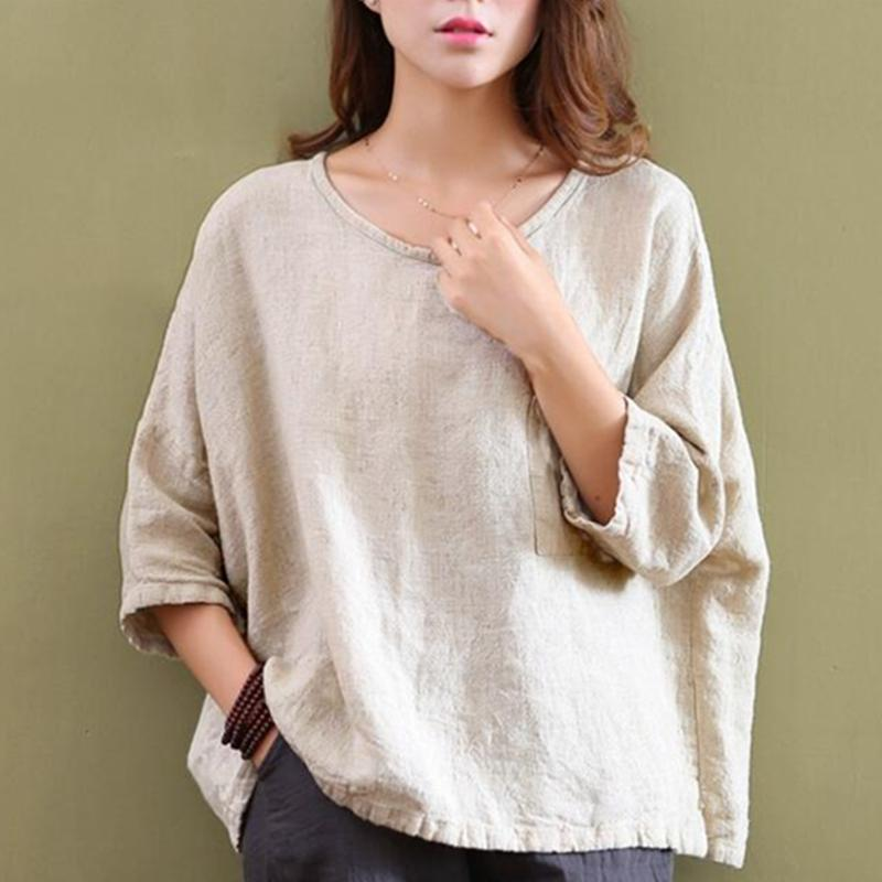 Buddha Trends Beige / One Size Loose Cotton and Linen Shirt  | Zen