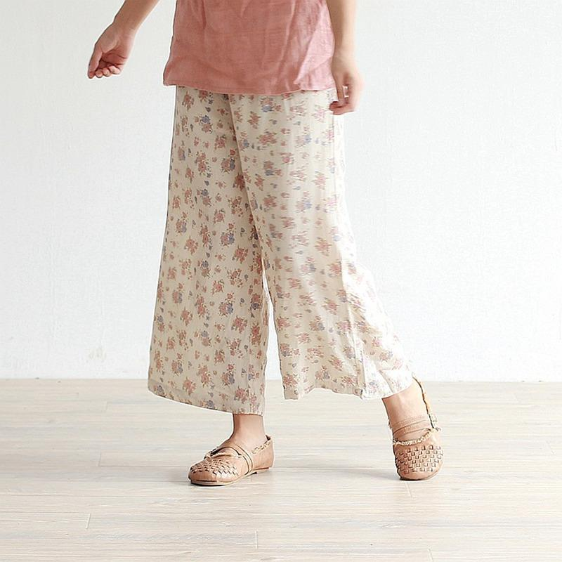 Buddha Trends Beige With Brown Flowers / L Periwinkle Floral High Waist Palazzo Pants