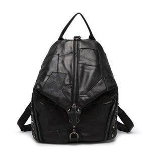 Buddha Trends Black / 29cm32cm17cm Colorful Patchwork Leather Backpacks