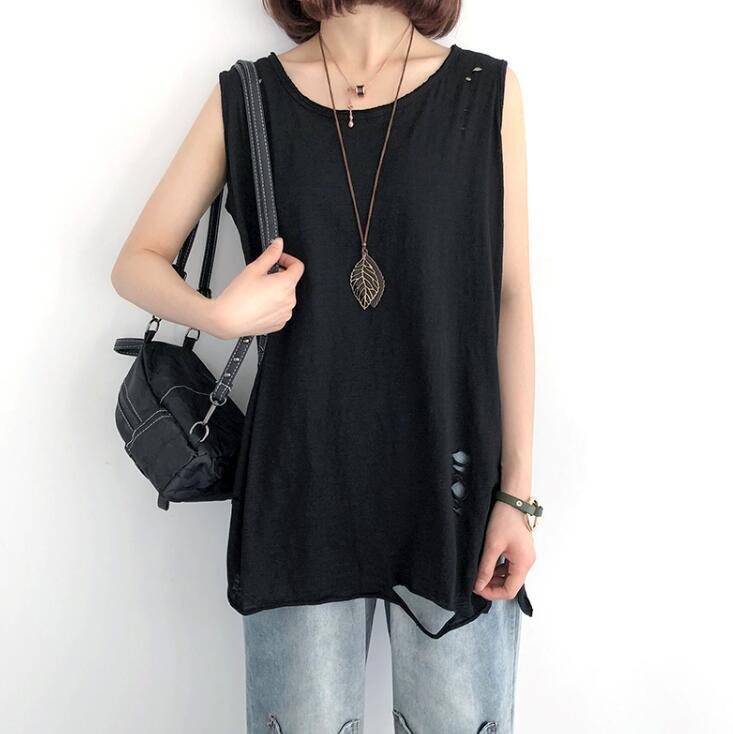 Buddha Trends Black / One Size Casual Distressed Tank Top