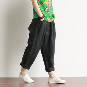 Buddha Trends Black / One Size Casual Literary Roll-up Trousers  | Zen