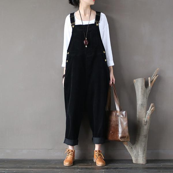 Buddha Trends Black / One Size Plus Size Black Corduroy Overall