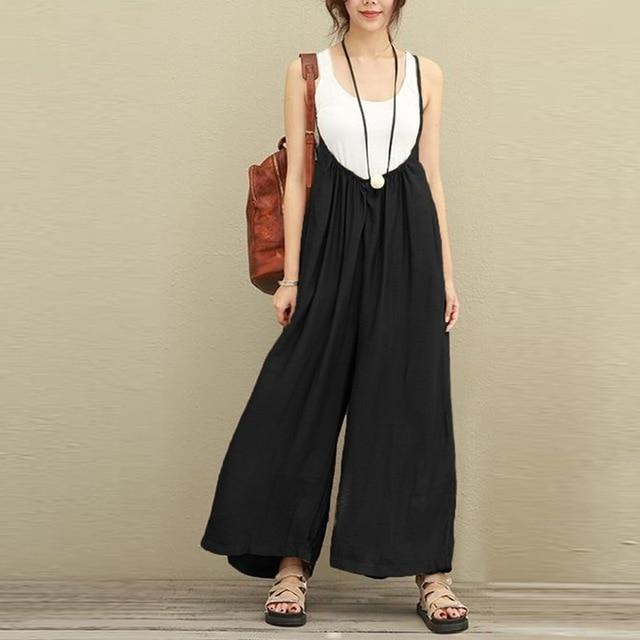 Buddha Trends Plus Size Wide Leg Flowy Overall