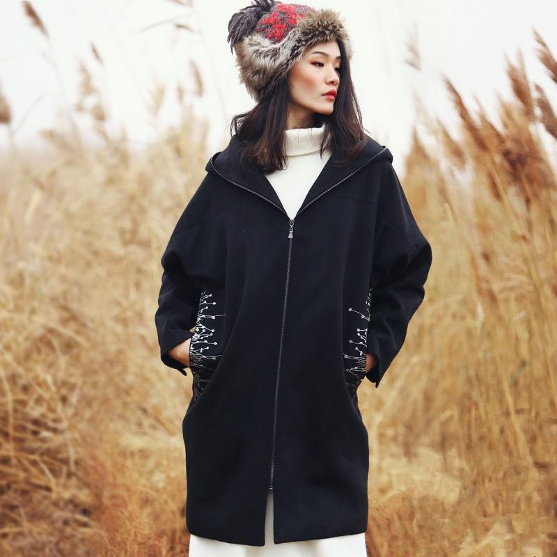 Vintage Embroidered Hooded Woolen Coat | Mandala