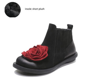 Buddha Trends Black With Plush Soles / 5 Mary Jane Floral Ankle Boots
