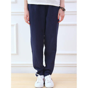 Buddha Trends Blue / One Size Cotton & Linen Pleated Pants  | Zen