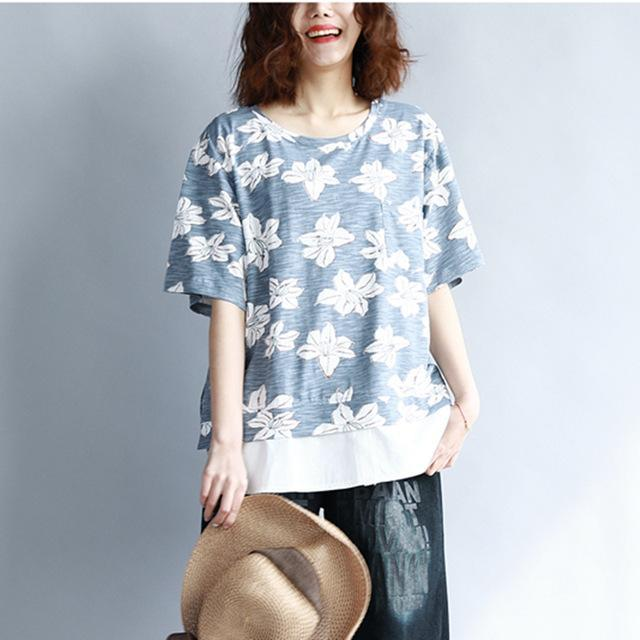 Buddha Trends Blau / One Size Double Layered Floral T-Shirt