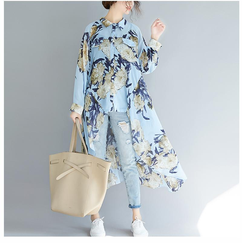 Floral High Low Tunic Top