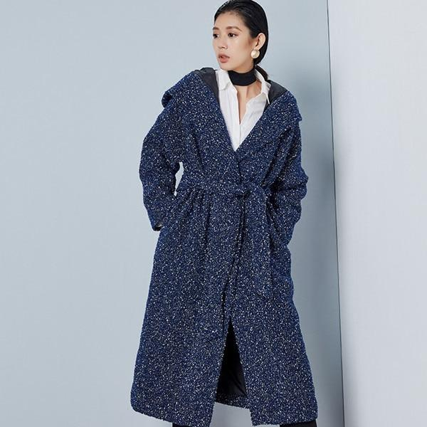 Buddha Trends Blue / One Size Handmade Hooded Wool Coat