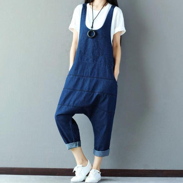 Buddha Trends Blue / One Size Low Crotch Loose Denim Overall