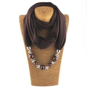 Collier foulard perlé Buddha Trends Brown / 160CM