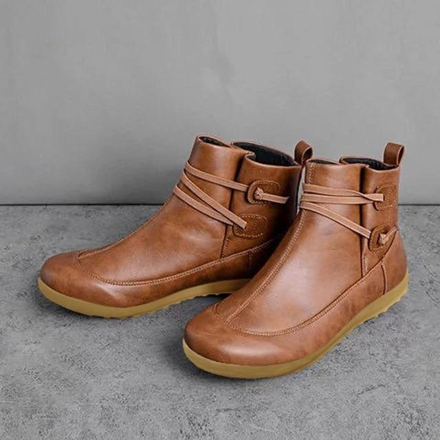 Vegan Leather Low Heel Ankle Boots