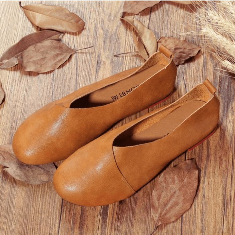 Genuine Leather Slip on Ballet Flats