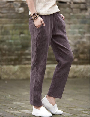 Buddha Trends brown / M Plus Size Linen Pants