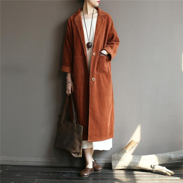 Buddha Trends Brown / One Size Casual Chic Corduroy Trench coat