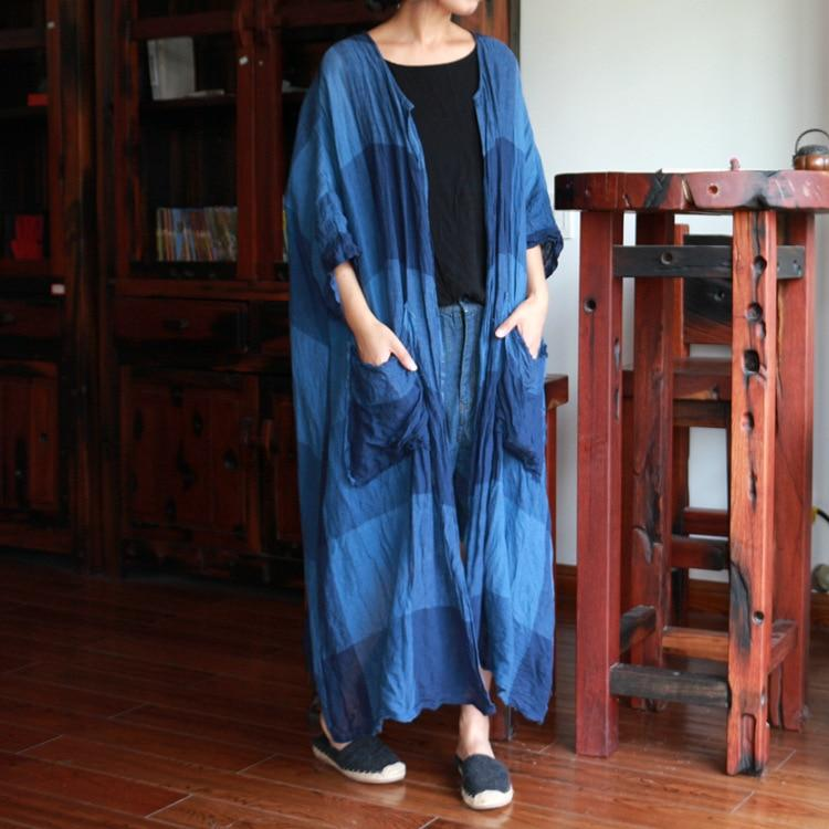 Buddha Trends Cardigans Batwing Sleeve Long Plaid Cardigan