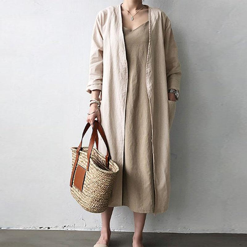 Buddha Trends Cardigans Beige / S Back to Basics Long Open Stitch Cardigan