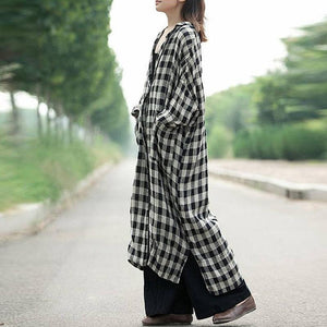 Buddha Trends Cardigans Black and White Plaid Button Up Cardigan
