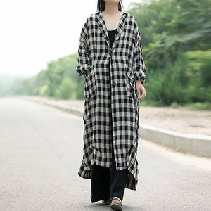 Buddha Trends Cardigans Black & White / 5XL Black and White Plaid Button Up Cardigan
