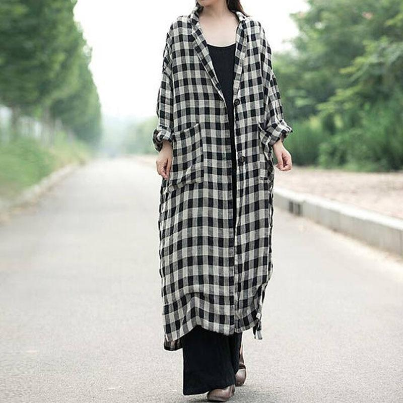 Buddha Trends Cardigans Black & White / XL Black and White Plaid Button Up Cardigan