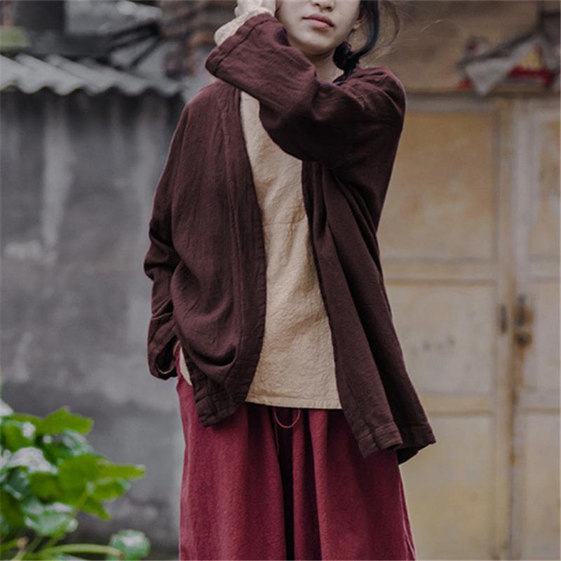 Brown Linen Cardigan | Lotus