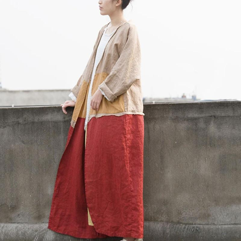 Color Block Long Linen Cardigan | Lotus