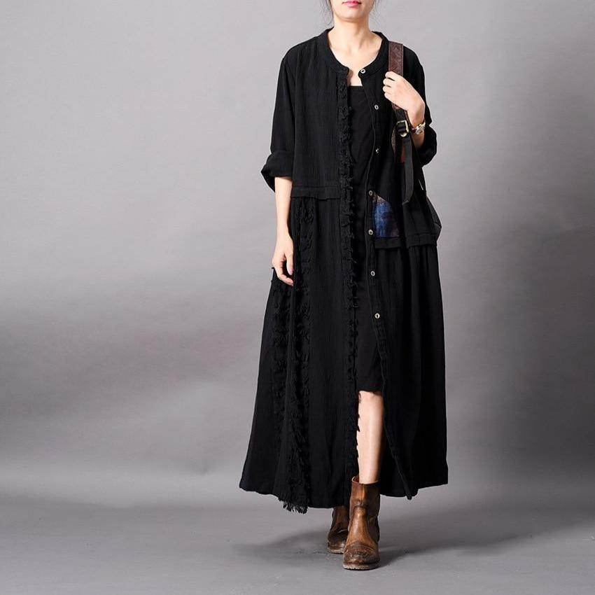 Fringed Patchwork Long Button Up Cardigan