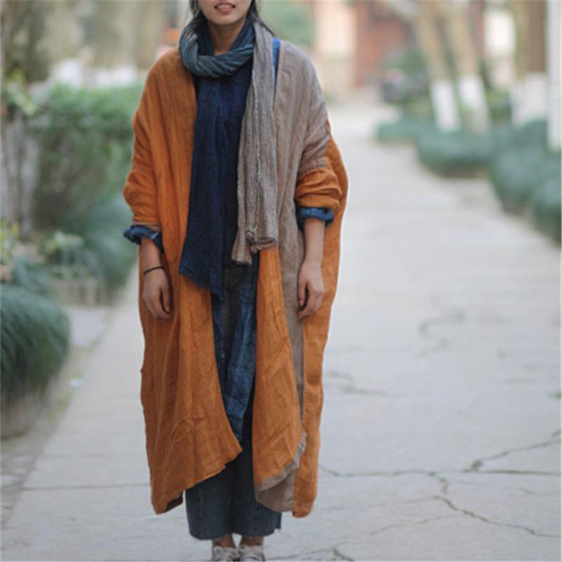Buddha Trends Cardigans Linen Patchwork Long Cardigan | Lotus