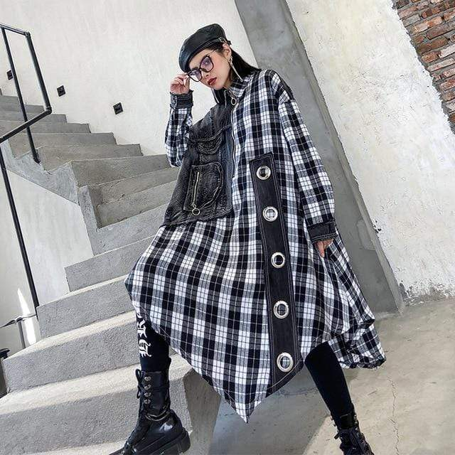 Buddha Trends Cardigans Long Oversized Plaid Shirt | Millennials