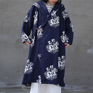 Buddha Trends Cardigans Navy blue / One Size Dragon Empire Loose Hooded Linen Cardigan | Λωτός