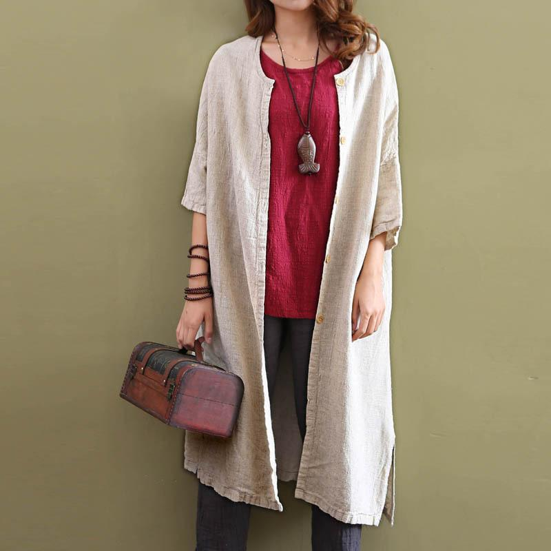 Cotton Linen Beige Cardigan  | Zen