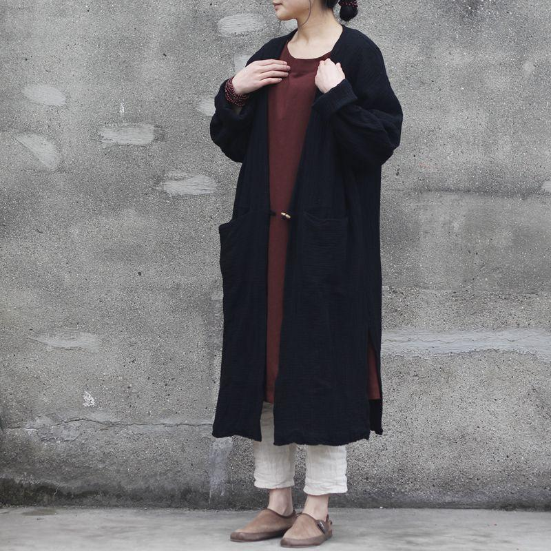 Buddha Trends Cardigans One Size / Black Long Cotton and Linen Cardigan  | Zen
