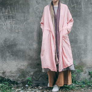 Buddha Trends Cardigans One Size / Pink Pink Linen Long Cardigan | Λωτός