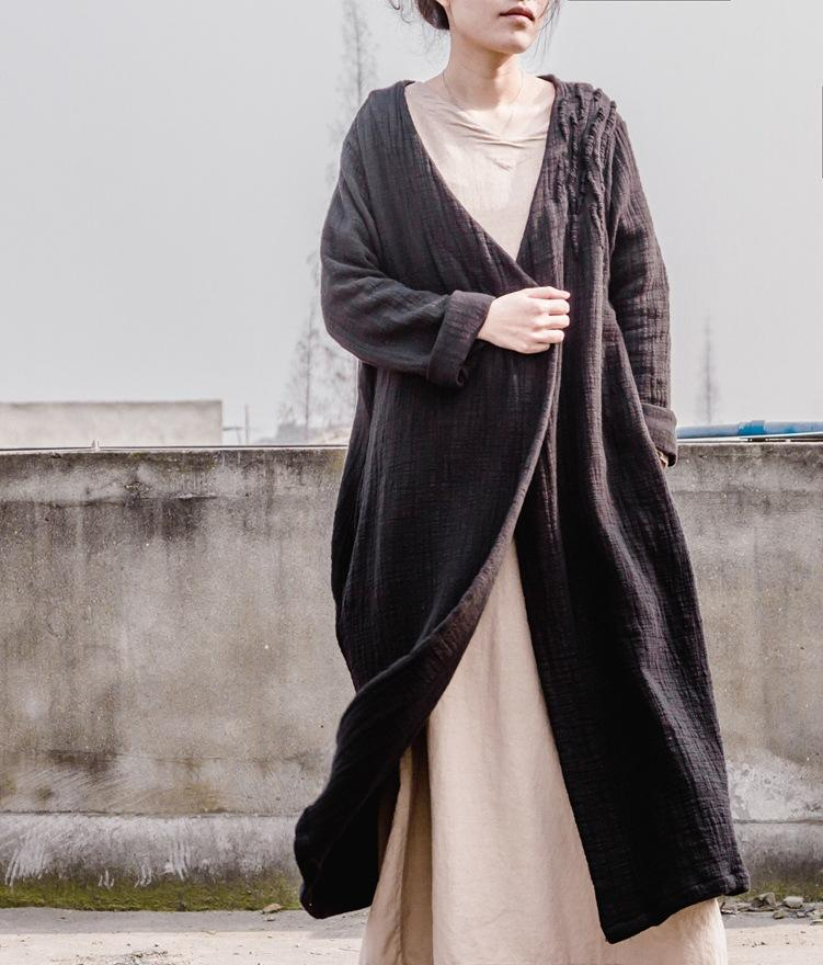 Buddha Trends Cardigans One Size / Vintage Black Cotton and Linen Long Black Cardigan
