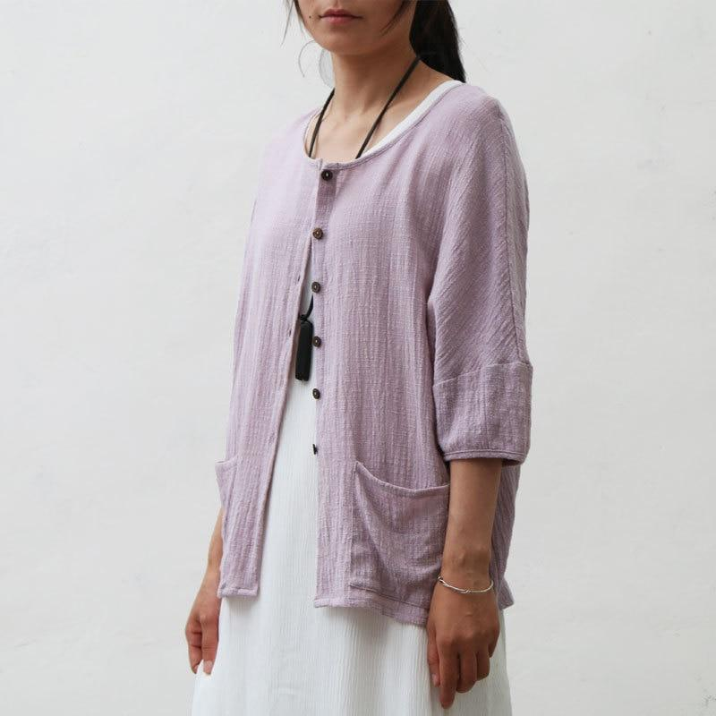 Buddha Trends Cardigans Purple / One Size Short Sleeve Button Up Cardigan  | Zen