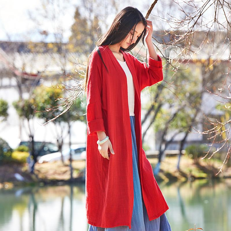 Buddha Trends Cardigans Red / One Size Pure & Vibrant Cotton Linen Cardigan  | Zen