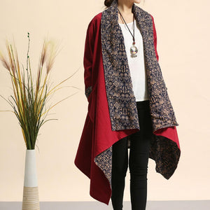 Buddha Trends Cardigans Red / One Size Red Reversible Cotton Linen Cardigan
