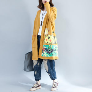 Buddha Trends Cardigans Gelb / One Size Cat Lady Button Up Lange Strickjacke