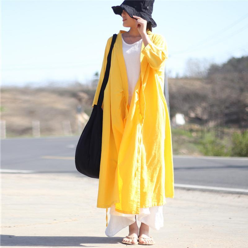 Buddha Trends Cardigans Yellow / One Size Long Linen Wrap Cardigan  | Zen