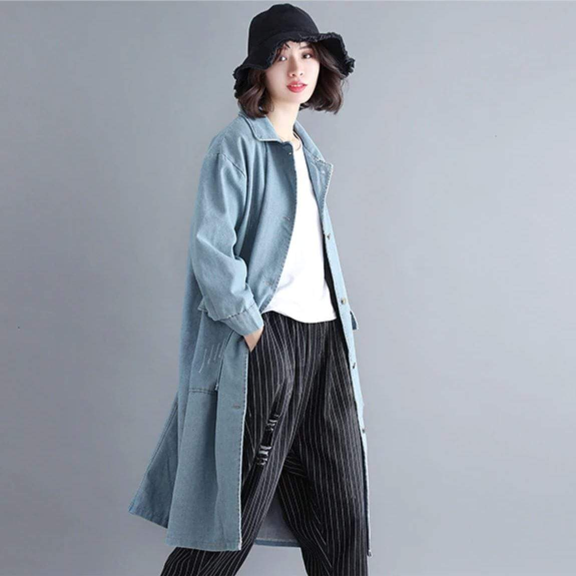 Casual Denim Trench Coat