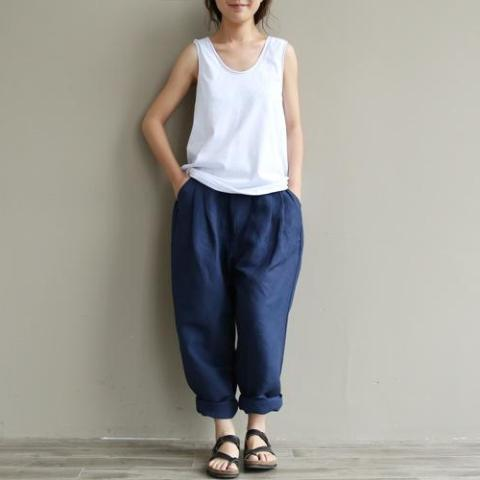 Buddha Trends Casual Literary Roll-up Trousers  | Zen