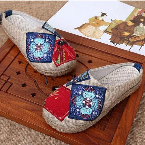 Buddha Trends Chinese Artist Embroidered Cotton Slippers